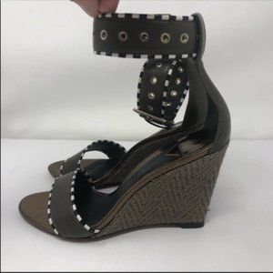 Brian Atwood B Line Sabina Raffia Leather Wedges 6